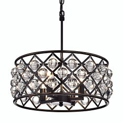 Edvivi Azha 4-Light Oil Rubbed Bronze Drum Pendant Chandelier with Crystal Spheres | ORB | Glam  ...