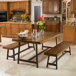 Christopher Knight Home Hamilton Acacia Oak Foldable 3pc Dining Set, 70.47″L x 35.43″ ...