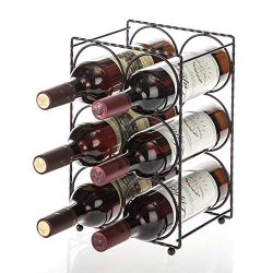 Home Zone Kitchen Tabletop Wine Storage Rack, Holds up to 6 Bottles (Oil-Rubbed Bronze)