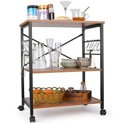 Himimi Kitchen Baker's Rack, 3-Tier Microwave Oven Stand with Metal Frame and 10 Hooks, In ...