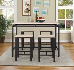 Dining Table Set, Counter Height Table Set, 5-Piece Table Set for The Bar, Breakfast Nook, Kitch ...