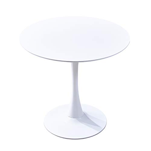 GreenForest Dining Table Round Top and Pedestal Mid-Century Modern Leisure Table with Strong Met ...