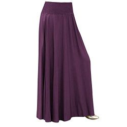 TWGONE Pleated A Line Skirt Women Elastic Waist Solid Vintage Loose Maxi Long Skirts(Medium,Purple)