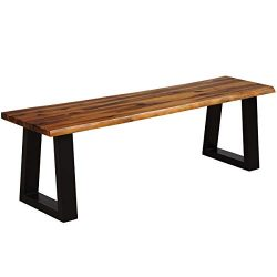 Giantex Wooden Dining Bench Seating Chair Rustic Indoor &Outdoor Furniture (Rustic Brown& ...