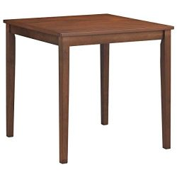 COSTWAY Wood Square Dining Table, 100% Rubber Wood Legs Mid-Century Kitchen Leisure Table, Durab ...