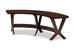 Baxton Studio Berlin Mid-Century Modern Walnut Finished Wood Curved Dining Bench