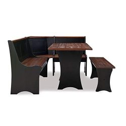 Linon Jackie Solid Wood Dining Nook in Black