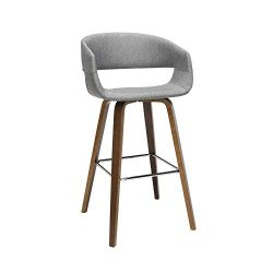 OFM 161 Collection Mid Century Modern 2 Pack 26″ Low Back Bentwood Frame Stool, Fabric Uph ...