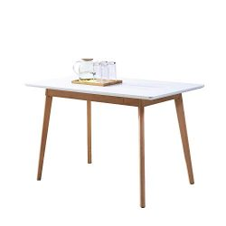 "GreenForest Dining Table Rectangular Top with Solid Wood Legs for Kitchen Dining Room 47.2"" ..."