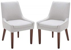 Rivet Contemporary Welt-Trimmed Dining Chair, 35″H, Felt Gray, Set of 2