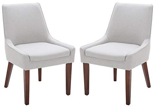 Rivet Contemporary Welt-Trimmed Dining Chair, 35″H, Felt Gray, Set of 2