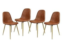 Set of 4 Chairs Scandinavian Vintage Kitchen Dining Chairs in Brown PU Leather