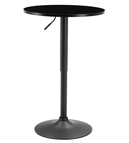 BTEXPERT Industrial Adjustable 27-36″ Height Metal Bar Table Swivel 23.8 Round MDF Wood To ...