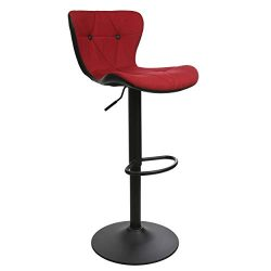 Adjustable Height Bar Stool Seat | Modern Airlift Swivel Barstool | Mid-Back Padded Chair for Hi ...