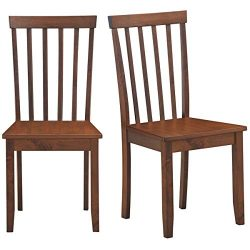 COSTWAY Set of 2 Slat Back Dining Chairs, Transitional Dining Side Chairs, Thickened Rubber Wood ...