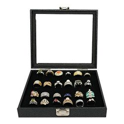 Jewelry Storage Case, Black Wooden 36 Slot Ring Storage Box Display,Case Holder Tray for Jewelry ...
