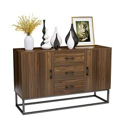 Mecor Sideboard Cabinet,Kitchen Sideboard,Industrial Style Sideboard,Top Buffet Storage Cabinet  ...
