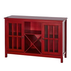 Target Marketing Systems Portland Collection Wine Buffet With Two Cabinets, One Shelf and 4 Bott ...