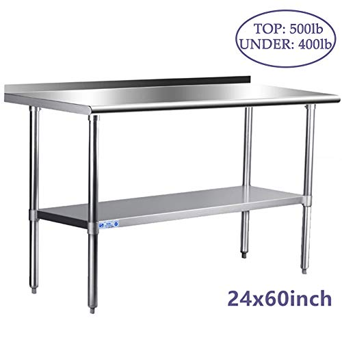 Stainless Steel Table for Prep & Work 24 x 60 Inches, NSF Commercial Heavy Duty Table with U ...