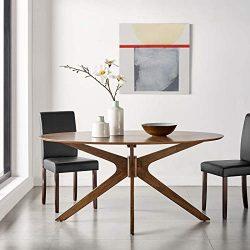 Modway EEI-3848-WAL Crossroads 63″ Oval Wood Dining Table, Walnut