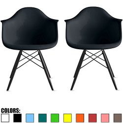 2xhome Set of 2 Black Mid Century Modern Designer Contemporary Vintage Chairs Dining No Wheels L ...