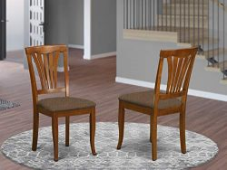 East West Furniture AVC-SBR-C Avon dining chairs – Microfiber Upholstery Seat and Saddle B ...