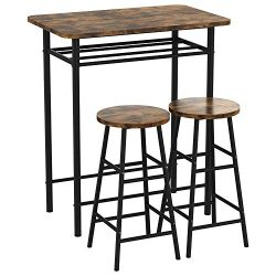 IRONCK 3-Piece Pub Bar Table Set, Industrial High Top Table Set Kitchen Dining Bar Table with 2  ...