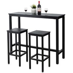 COSTWAY 3-Piece Bar Table Set, 39.5″ Bar Table with 2PC 28″ Bar Stools, Pub Height D ...