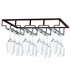 MOCOUM Wine Glasses Rack Under Cabinet Stemware Rack, Wine Glass Hanger Rack Wire Wine Glass Hol ...