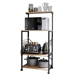 Bestier Kitchen Baker's Rack Utility Storage Shelf Microwave Stand Cart on Wheels with Sid ...