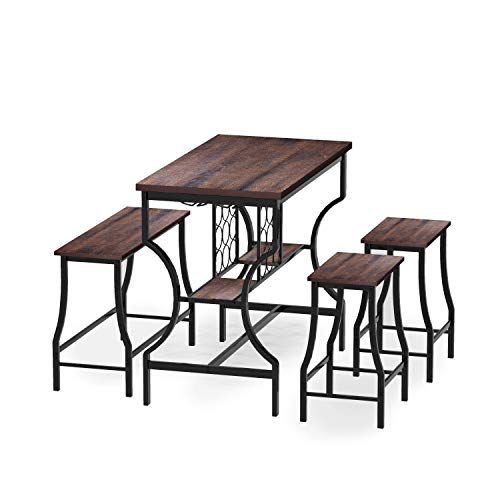 Hombazaar 4-Piece Dining Room Table Set, Counter Height Pub Table Set with Wine Storage and Glas ...