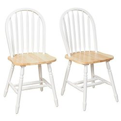 Target Marketing Systems TMS Country Arrowback Dining Chairs, Set of 2, White and Natural Wood