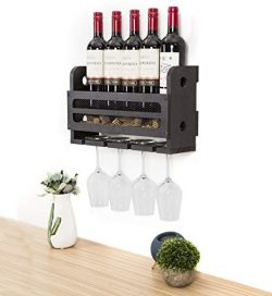 SODUKU Wall Mounted Wooden Wine Rack 5 Wine Bottles and 4 Stem Glasses Holder Wine Cork Storage  ...