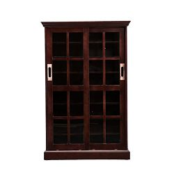 Sliding Door Media Cabinet – 4 Adjustable Shelves – Expresso Wood Finish
