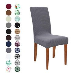 Obstal Stretch Spandex Dining Room Chair Covers – Set of 4 Universal Removable Washable Ch ...
