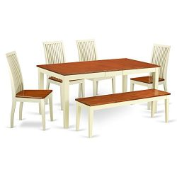 NIIP6-WHI-W 6 PC dining room set with bench-kitchen tables and 4 Dining Chairs Plus bench in But ...