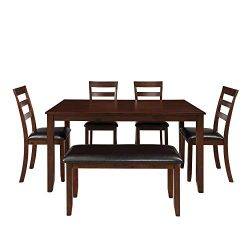 Dinning Room Set for 6 with Bench,JULYFOX 6 Piece Wood Rectangular Kitchen Table with 4 PU Leath ...