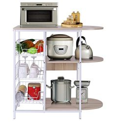 shamoluotuo Kitchen Baker's Rack Microwave Stand with Basket for Spice Rack Organizer Util ...