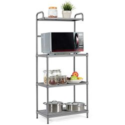 Giantex 4-Tier Kitchen Microwave Storage Rack Oven Stand Strong Mesh Wire Metal Shelves Free Sta ...