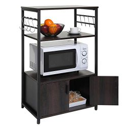 usikey 3-Tier Kitchen Baker's Rack, Microwave Oven Stand with 1 Cabinet and 8 Hooks, Free  ...