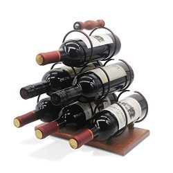 Tabletop Wood Wine Holder for 6 Bottles, Rustic Wood Countertop Wine Rack, 3-Tier Classic Design ...