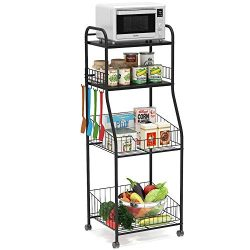 Tribesigns 4-Tier Kitchen Baker's Rack, Rolling Storage Cart on Wheels for Mini Toaster Ov ...