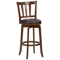 Ravenna Home Rosalind Swivel Ladder Back Bar Stool, 43.6″H, Cherry