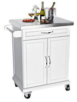 VIPEK Wood Kitchen Trolley Cart on Wheels Heavy Duty Storage Rolling Trolley Kitchen Island Tabl ...