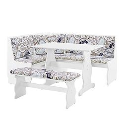 Linon Natasha 3 Piece Corner Dining Nook Set in Coffee and White
