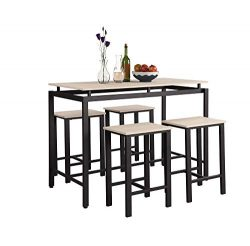 DERCASS 5pcs Counter Height Table Set,Wooden Country Style Metal Legs Dining Table with 4 Chairs ...