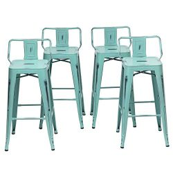 Changjie Furniture Low Back Metal Bar Stool Kitchen Counter Bar Stools Set of 4 (Low Back Distre ...