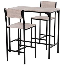 HOMCOM Industrial Counter-Height 3-Piece Table and 2 High Back Stools Set for Small Space in The ...