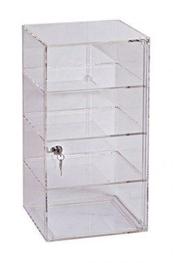 SSWBasics 3-Shelf Acrylic Tower Display Case – (Removable Shelves) – (Lock & Key)