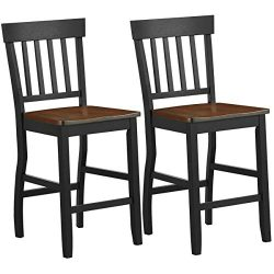 COSTWAY Set of 2 Classic Counter Stool, 24 inch Seat Height Solid Rubber Wood, Black Base and Wa ...